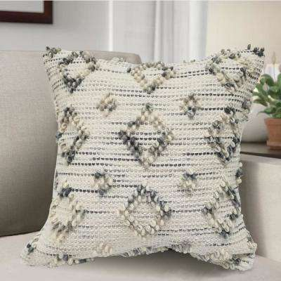 RAVISH Woven Decorative Pillow with Diamond Design Loops