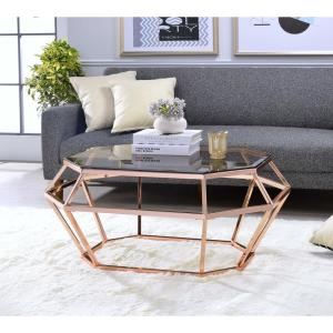 Excellent Acme Furniture Clifton Smoky Glass And Rose Gold Coffee Caraccident5 Cool Chair Designs And Ideas Caraccident5Info