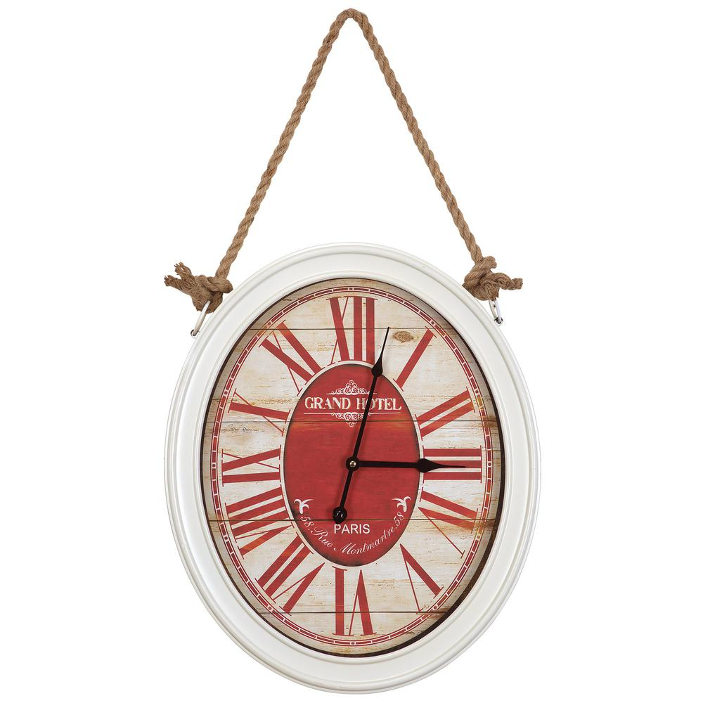 20 in. x 16.5 in. Circular MDF Wall Clock with Rope