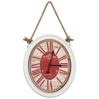 20 in. x 16.5 in. Circular MDF Wall Clock with Rope in White Frame