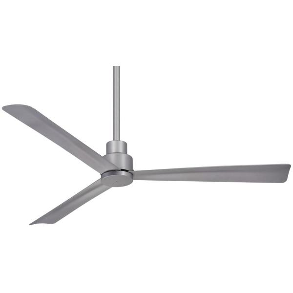 Simple 52 in. Indoor/Outdoor Silver Ceiling Fan with Remote Control