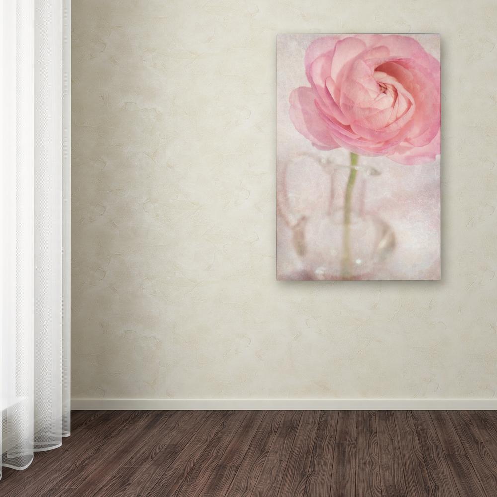 Trademark Fine Art 24 In X 16 In Single Rose Pink Flower By Cora