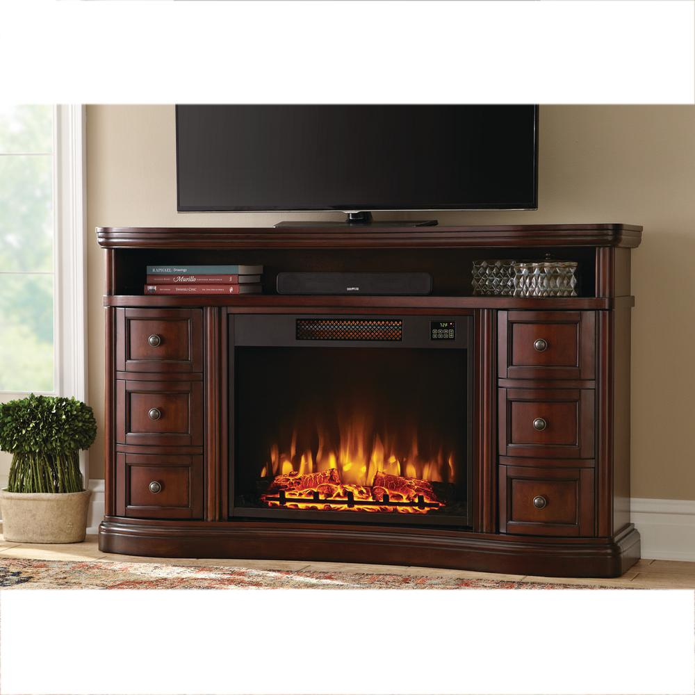 Home Decorators Collection Charleston 60 In Tv Stand Electric Fireplace In Brown Bsf 1733 The