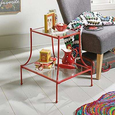 Eden Rue Red Tiered Glass End/Side Table