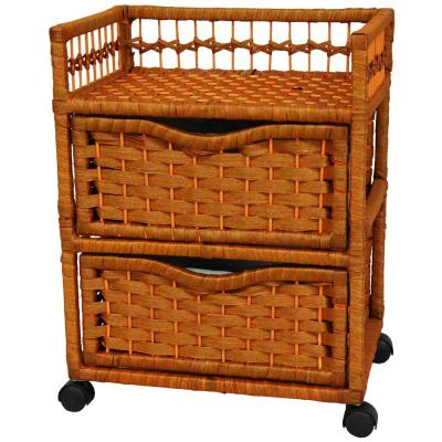 2-Drawer Honey Wheeled Natural Fiber Trunk