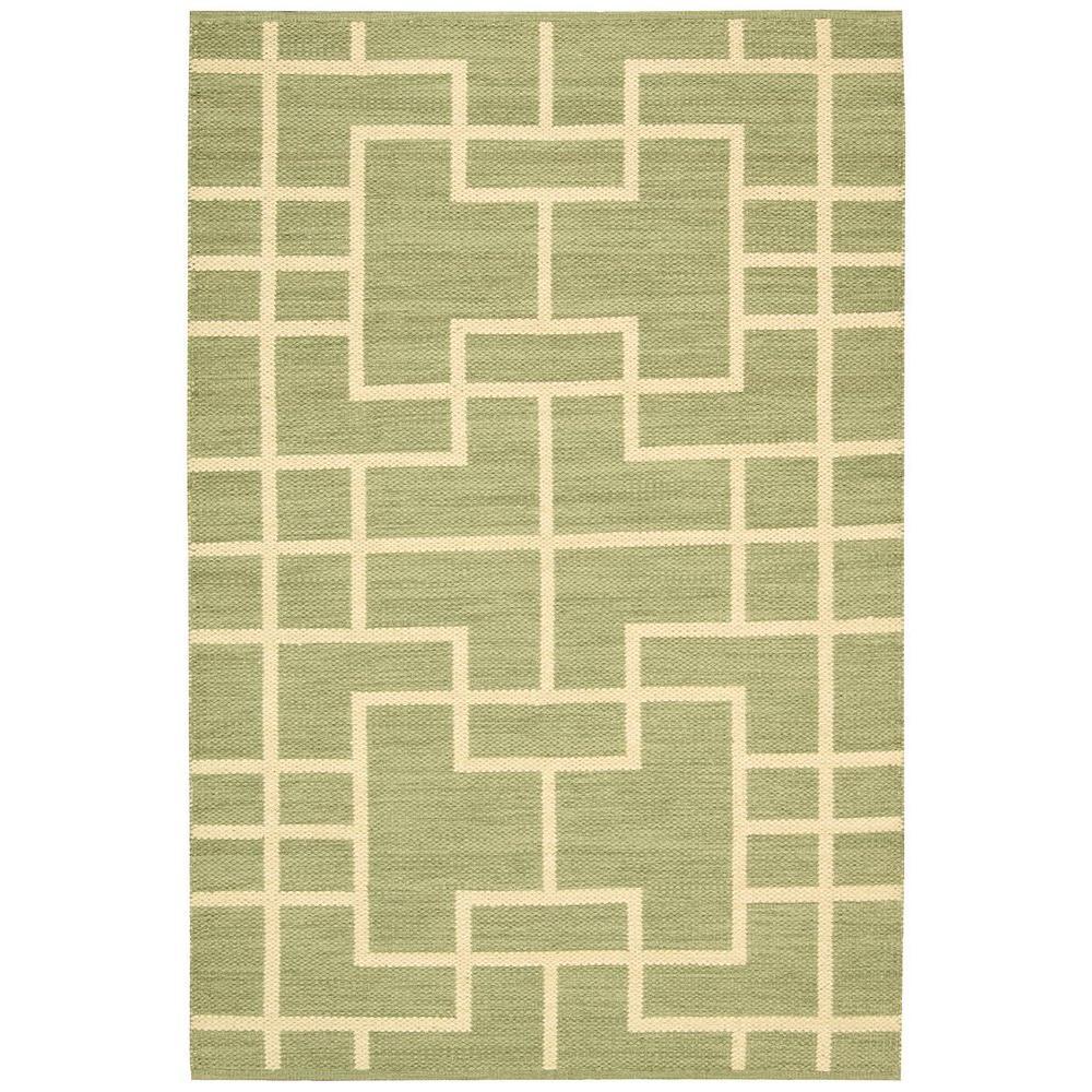 Nourison Overstock Maze Lemon Grass 7 ft. 9 in. x 10 ft. 10 in. Area Rug