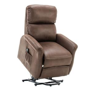 Brown Powel Lift Recliner Chair with Remote Control for Elderly,Heavy Duty and Soft Fabric Sofa for Living Room