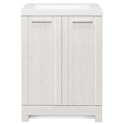 Brookcrest 24.5 in. W Bath Vanity in Stone Washed with Cultured Marble Vanity Top in White with White Sink