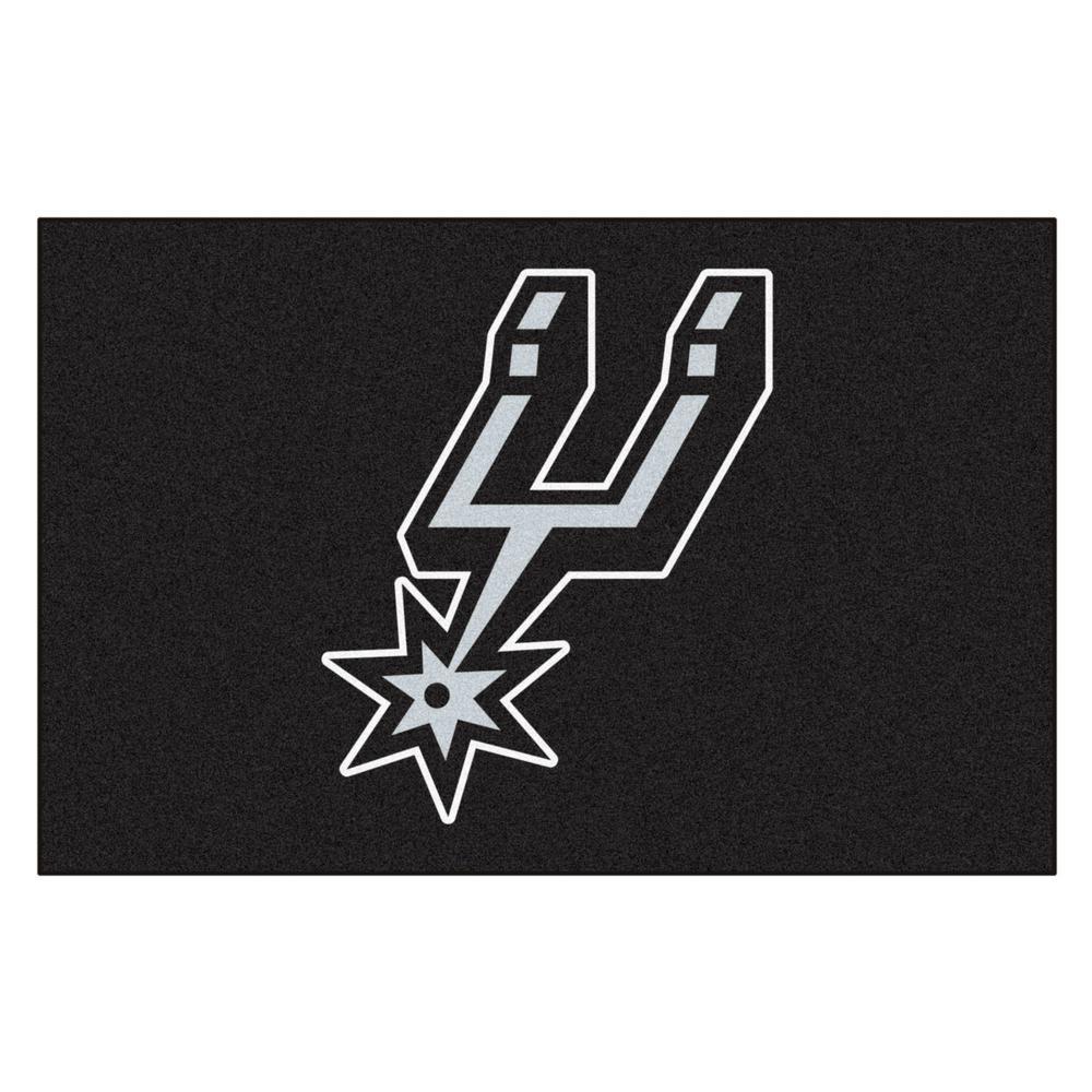 NBA San Antonio Spurs Black 2 ft. x 3 ft. Area Rug
