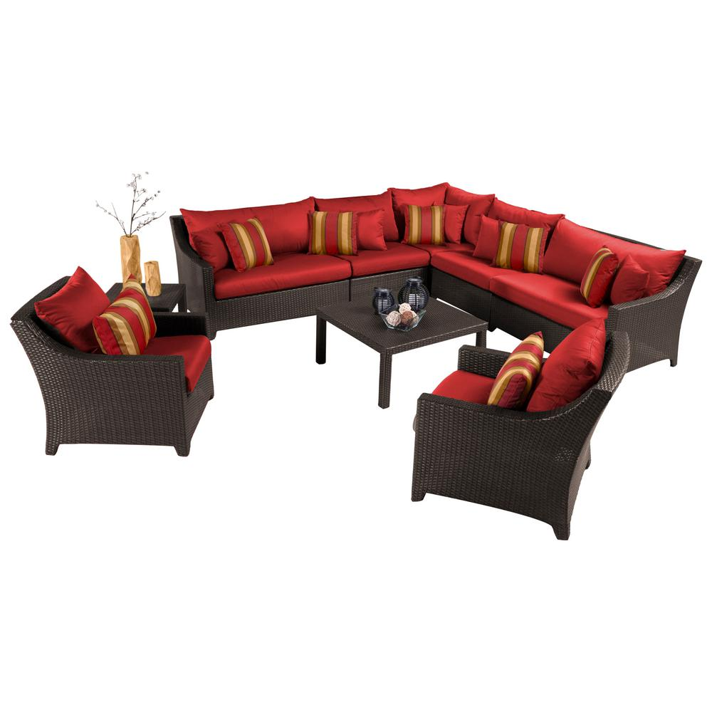 RST Brands Deco 9-Piece Patio Sectional Seating Set with Cantina Red Cushions