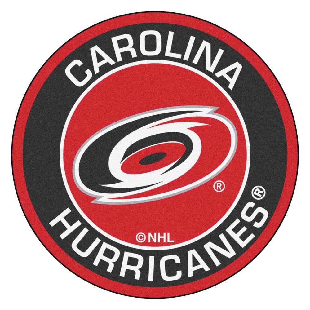 FANMATS NHL Carolina Hurricanes Black 2 ft  x 2 ft  Round Area Rug