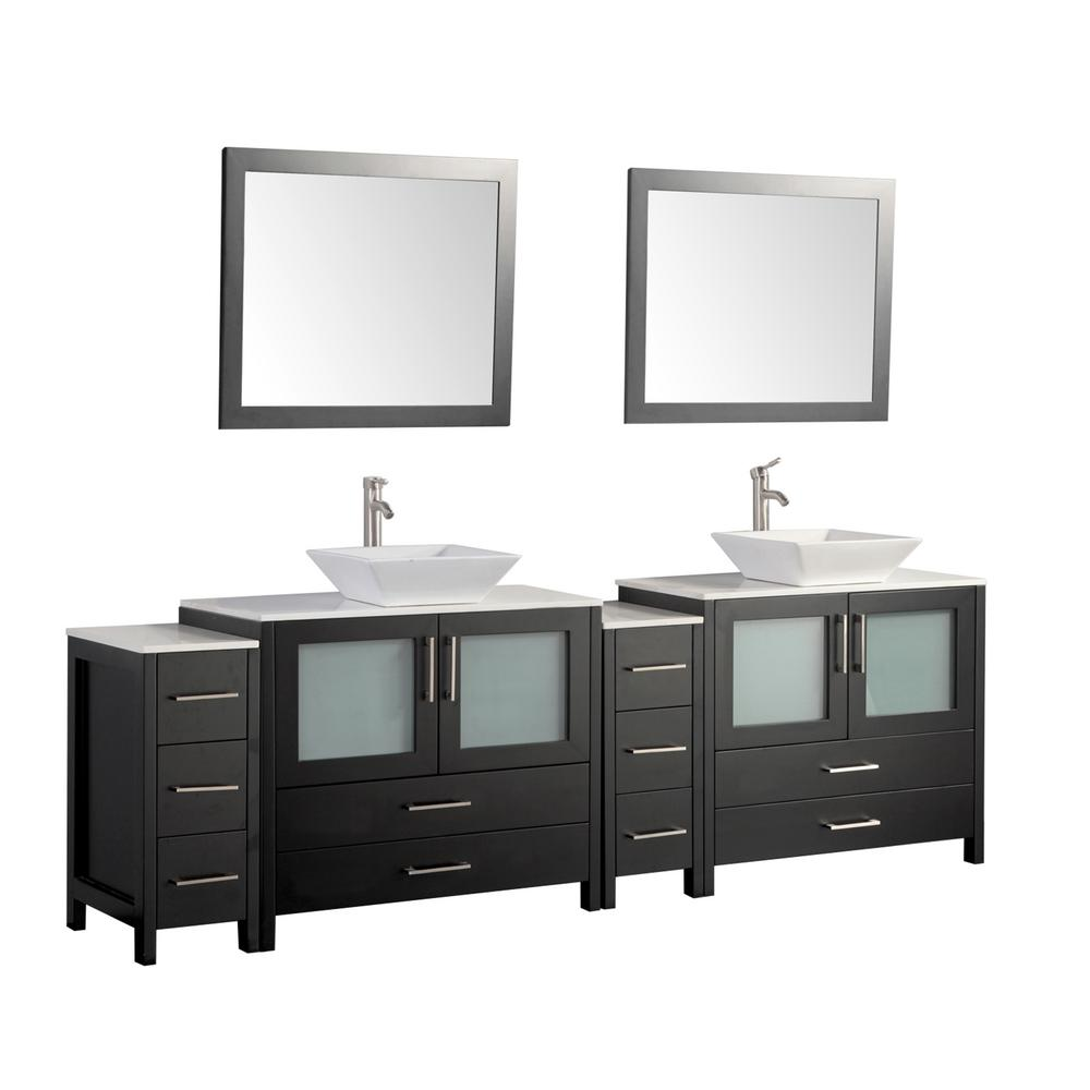 Vanity Art Ravenna 96 in. W x 18.5 in. D x 36 in. H Bathroom Vanity in Espresso with Double Basin Top in White Ceramic and Mirrors