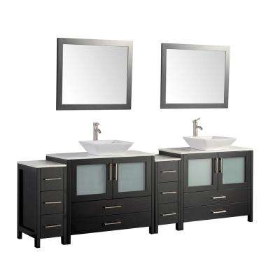 Ravenna 96 in. W x 18.5 in. D x 36 in. H Bathroom Vanity in Espresso with Double Basin Top in White Ceramic and Mirrors