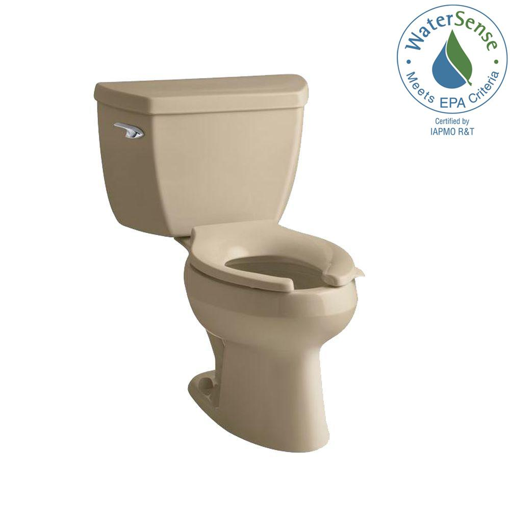 KOHLER Wellworth Classic 2-Piece Pressure Lite Elongated Toilet in Mexican Sand-DISCONTINUED