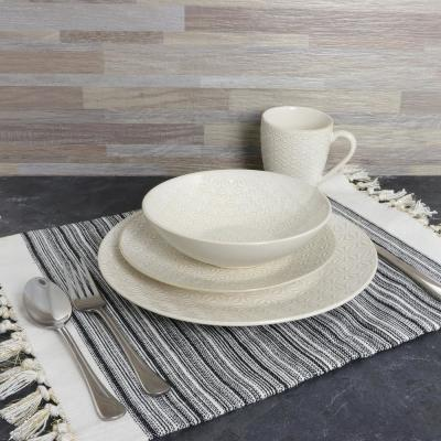 Ivory Terrace 16-Piece White Textured Dinnerware Set