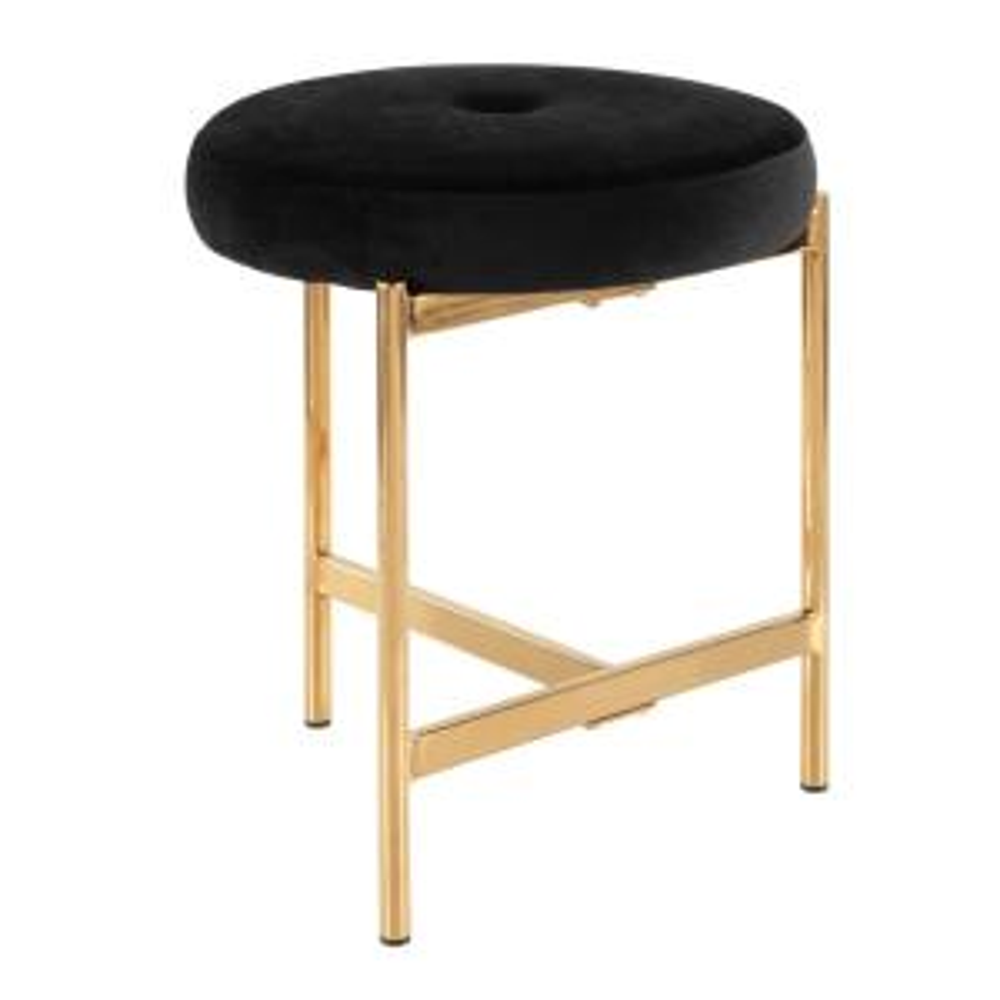 Fine Lumisource Chloe 18 In Black Velvet And Gold Vanity Stool Creativecarmelina Interior Chair Design Creativecarmelinacom