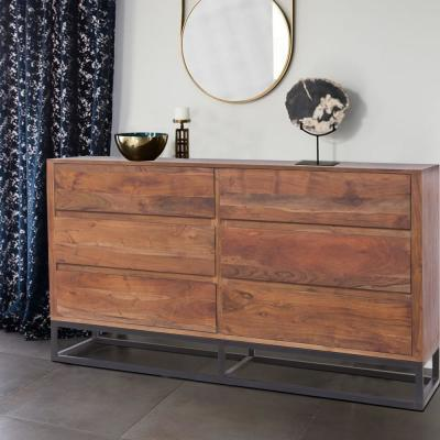Spacious Brown and Black 6-Drawer Chest Dresser with Metal Base