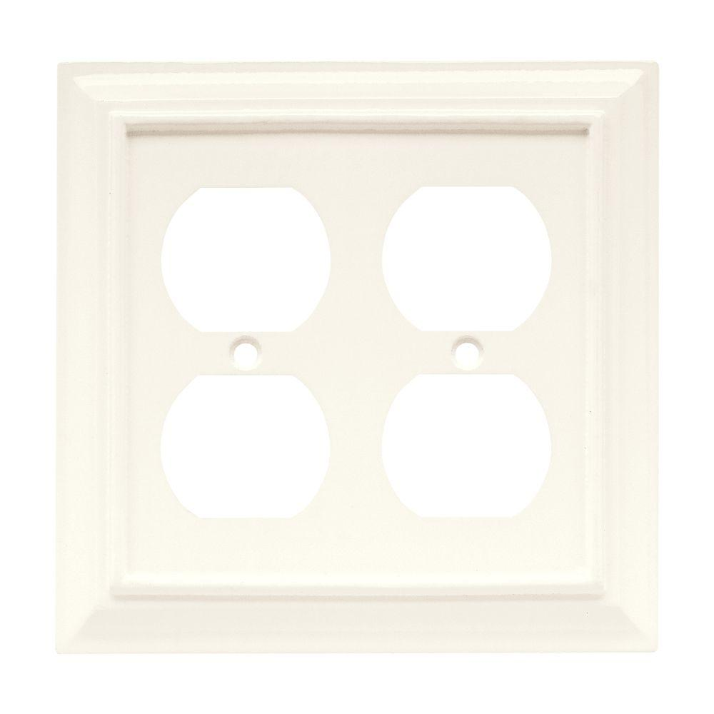 Architectural Wood Decorative Double Duplex Outlet Cover, White