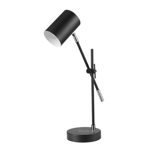 Tech Series 18 in. Matte Black Balance Arm Desk Lamp with Wireless Charging