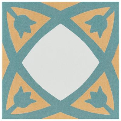 Revival Tulip Encaustic 7-3/4 in. x 7-3/4 in. Ceramic Floor and Wall Tile