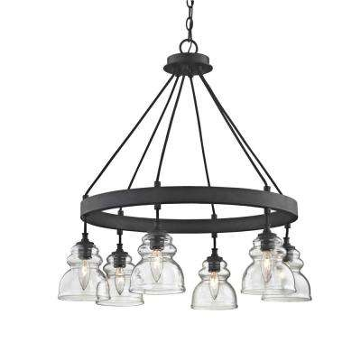 Muncie 6-Light Corsican Bronze Pendant with Clear Glass