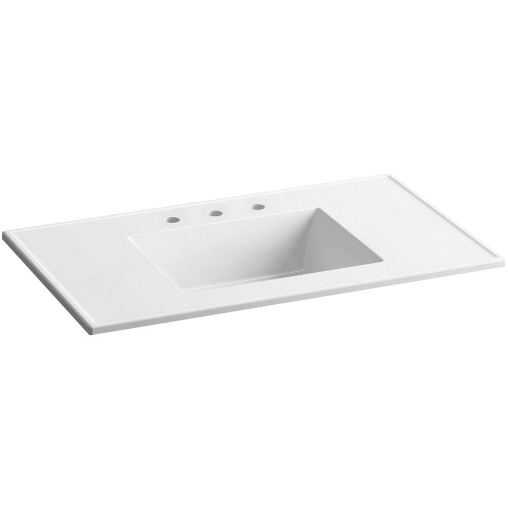 Exceptional Ceramic/Impressions 37 In. Vitreous China Vanity Top With Basin In White