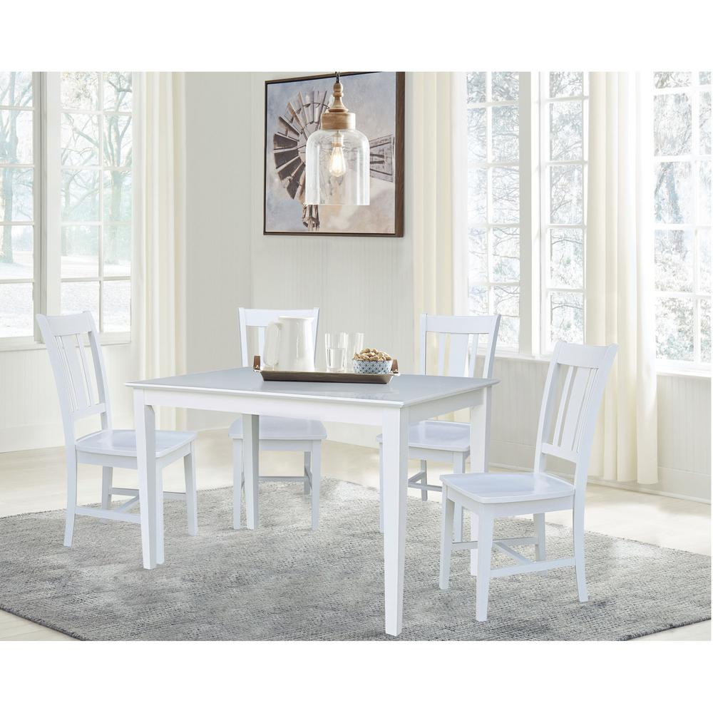 International Concepts 5 Pc Set White 30 X 48 In Dining Table With 4 San Remo Chairs K08 3048 C10 4 The Home Depot