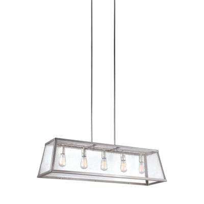 Harrow 5-Light Polished Nickel Billiard Island Chandelier Shade