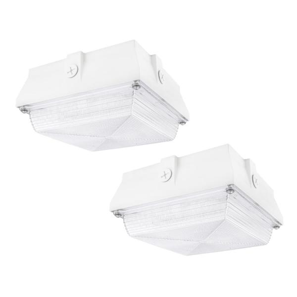 350-Watt Equivalent White Integrated Outdoor LED Security Light, 5200 Lumens, Ceiling/Canopy Security Lighting (2-Pack)