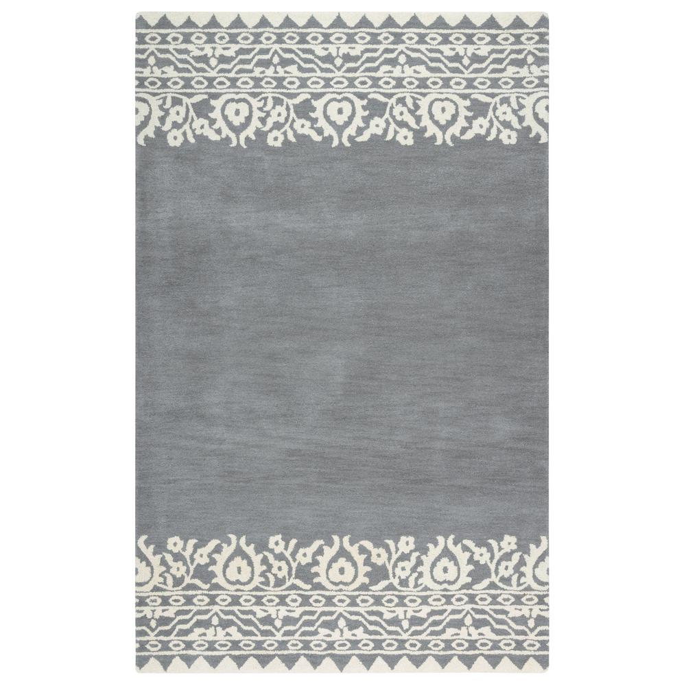 Rizzy Home Marianna Fields Gray Border Hand Tufted Wool 5 Ft X 8 Ft