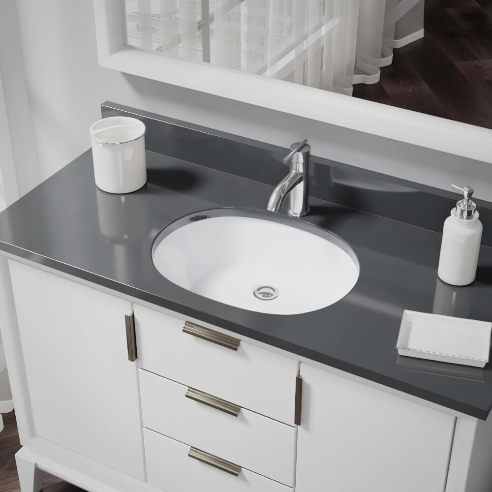 Rene Undermount Porcelain Bathroom Sink In White With Pop Up Drain Chrome