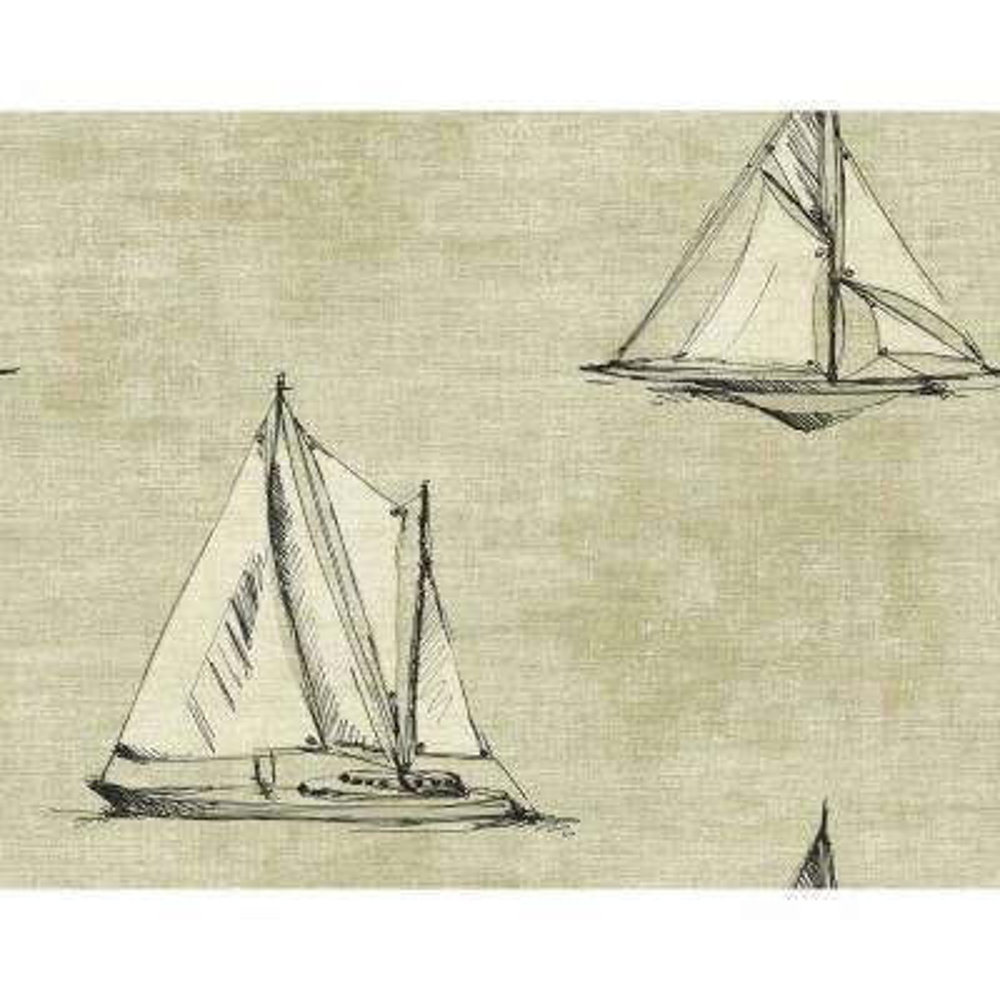 Setting Sail Taupe and Ebony Nautical Wallpaper