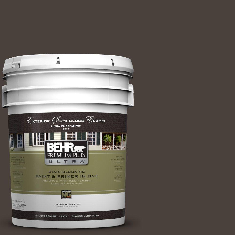 BEHR Premium Plus Ultra 5-gal. #UL140-1 French Roast Semi-Gloss Enamel Exterior Paint