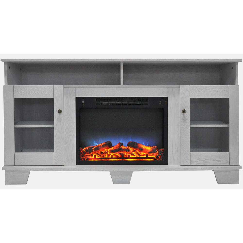 Cambridge Savona 59 In Electric Fireplace In White With