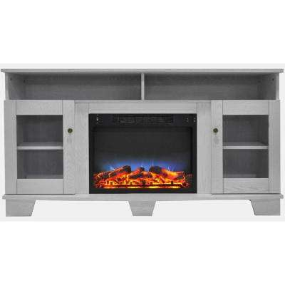 Savona 59 in. Electric Fireplace in White with Entertainment Stand and Multi-Color LED Flame Display
