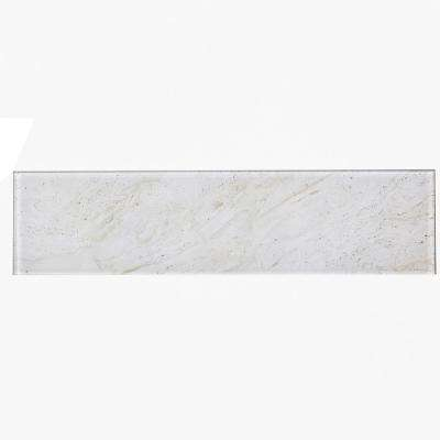 4 in. x 16 in. Nature Crema Marfil Glass Peel and Stick Decorative Wall Tile Backsplash Sample
