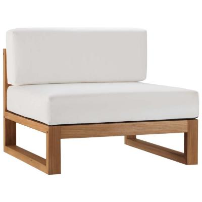 Upland Natural Teak Armless Outdoor Lounge Chair with White Cushions