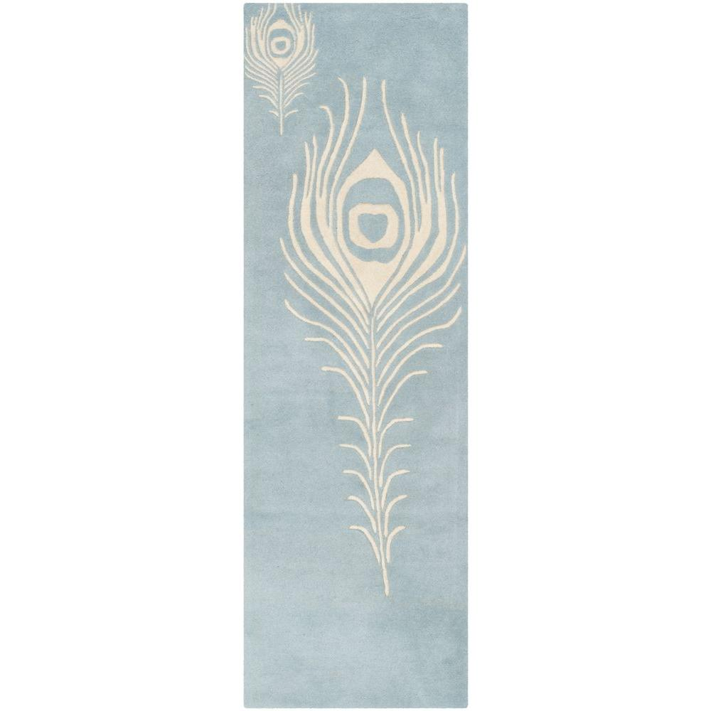 Soho Light Blue/Ivory 2 ft. 6 in. x 12 ft. Runner