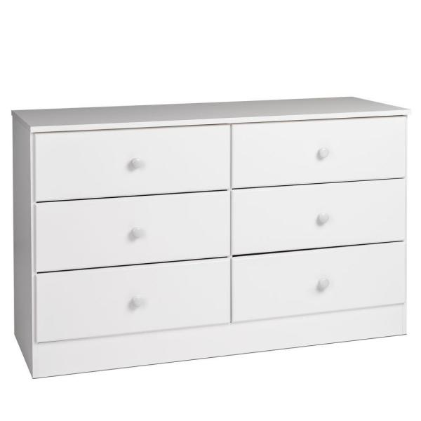 Astrid 6-Drawer White Dresser