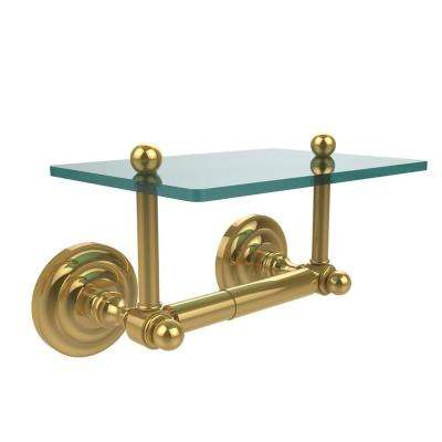 Que New Collection Double Post Toilet Paper Holder with Glass Shelf in Polished Brass