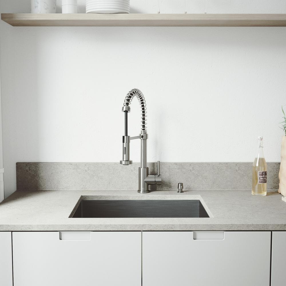 VIGO All-in-One 23 in. Stainless Steel Single Bowl Undermount Kitchen Sink with Pull Down Faucet in Stainless Steel, Satin was $549.9 now $398.9 (27.0% off)