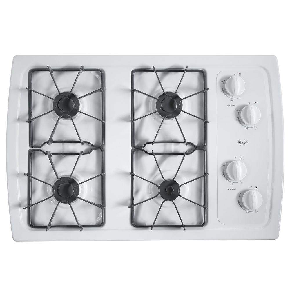 Whirlpool 30 in. Gas Cooktop in White with 4 Burners The secret to mastering your most delicate dishes is this gas cooktop and its specialty burners. A 5,000 BTU AccuSimmer burner delivers precise temperature control, so you can melt chocolate and simmer sauces perfectly. A 10,500 BTU burner also produces enough heat to quickly boil water and add the perfect sear to a steak. After your delicious meal, keep your cooktop looking like new with our easy-to-clean enamel steel grates, dishwasher-safe knobs and sealed burners. Color: White.