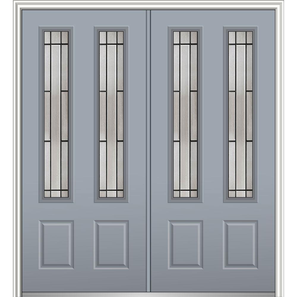 Mmi door 64 in x 80 in solstice glass storm cloud left for Prehung entry door with storm door