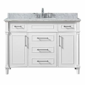 Aberdeen 48 in. W x 22 in. D Vanity in White with Carrara Marble Top with White Sink