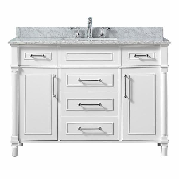 Home Decorators Collection Aberdeen 48 In W X 22 In D Vanity In White With Carrara Marble Top With White Sink Aberdeen 48w The Home Depot