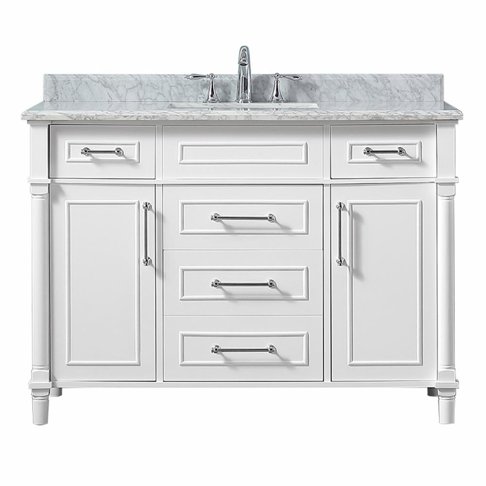 D Vanity In White With Carrara Marble Top Sink