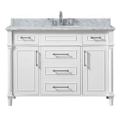 Aberdeen 48 in. W x 22 in. D Vanity in White with Carrara Marble Top with White Basin