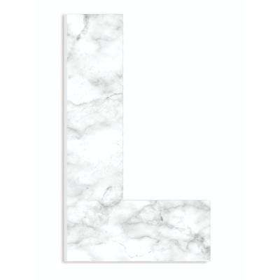 """12 in. x 18 in. """"Modern White and Grey Marble Patterned Initial L"""" by Artist Daphne Polselli Wood Wall Art"""