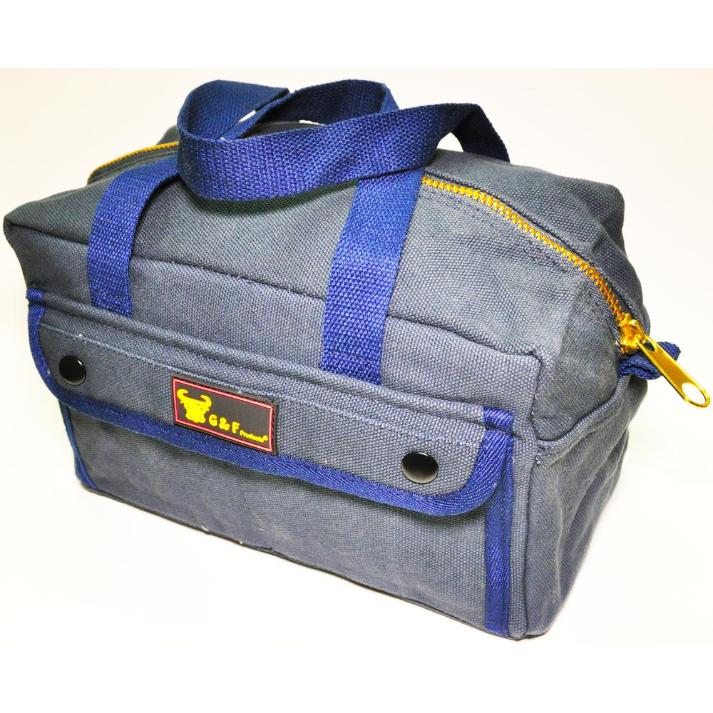 11 in. W Mechanics Tool Bag with Brass Zipper, Dark Blue,