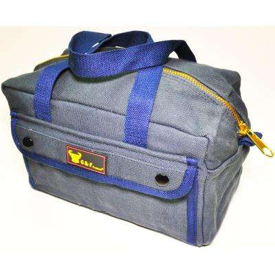 11 in. W Mechanics Tool Bag with Brass Zipper, Dark Blue, Government Issued Style